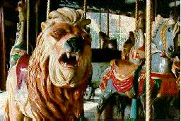 fearsome carousel lion and apprehensive carousel horse, Prospect Park, Brooklyn